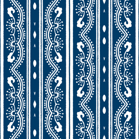 Chinese Indigo Tiles ~ Bian ~ Variation SS fabric by peacoquettedesigns on Spoonflower - custom fabric