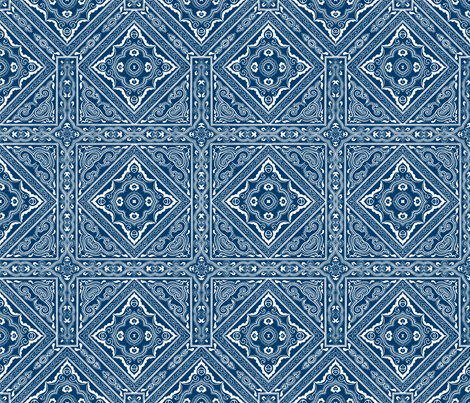 Chinese Indigo Tiles ~ Bian ~ Variation Shyr San  fabric by peacoquettedesigns on Spoonflower - custom fabric