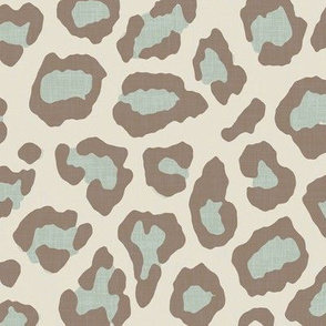 Etosha Leopard in Soft Aqua and Taupe