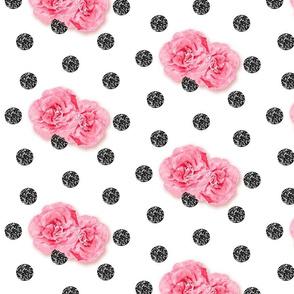Fancy Watercolor Roses on Black Glitter