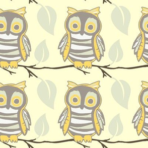 Owl on a Branch - Yellow