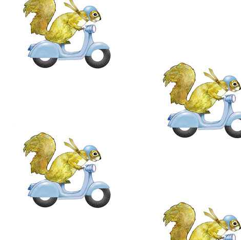 scooter squirrels (blue var.) fabric by golders on Spoonflower - custom fabric