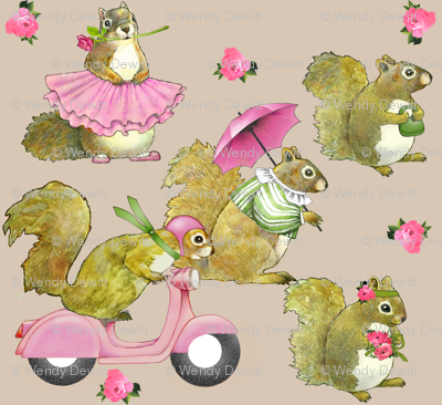 girly squirrels on beige