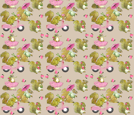 girly squirrels on beige fabric by golders on Spoonflower - custom fabric