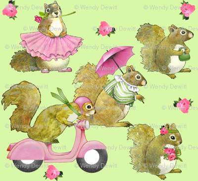 girly squirrels on green