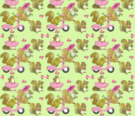 girly squirrels on green fabric by golders on Spoonflower - custom fabric