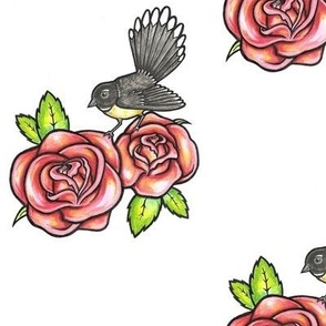 Fantail and Roses