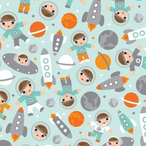 Cute pastel kosmos space astronauts kids illustration moon and rocket pattern