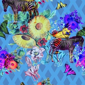 wallpaper jungle, zebras on blue
