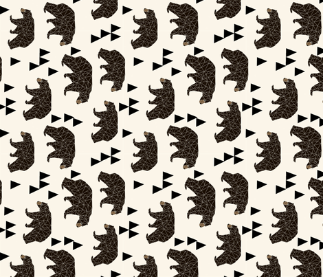 geometric bear // cream railroad triangle trendy baby nursery design fabric by andrea_lauren on Spoonflower - custom fabric