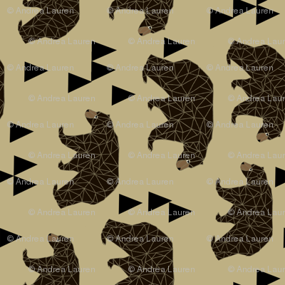 geometric bear // khaki railroad version of geo triangles bear in khaki