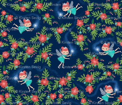 Fairies & Floral in Turquoise & Coral (small)