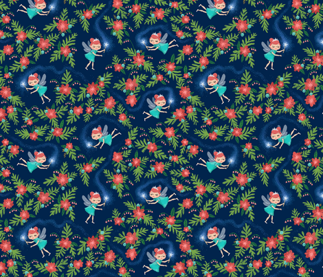 Fairies & Floral in Turquoise & Coral (small) fabric by kirsten_sevig on Spoonflower - custom fabric