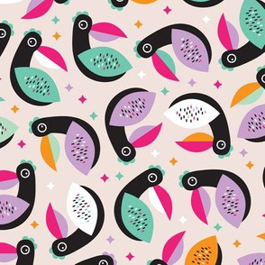 Tropical exotic birds abstract kids tucan illustration pattern