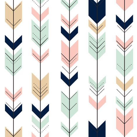 Fletching Arrows (small scale) // Briar Woods Collection fabric by littlearrowdesign on Spoonflower - custom fabric