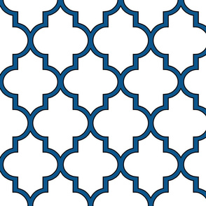 Moroccan Outline Quatrefoil in Navy and Black