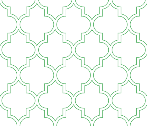 Outline Quatrefoil in Kelly fabric by willowlanetextiles on Spoonflower - custom fabric