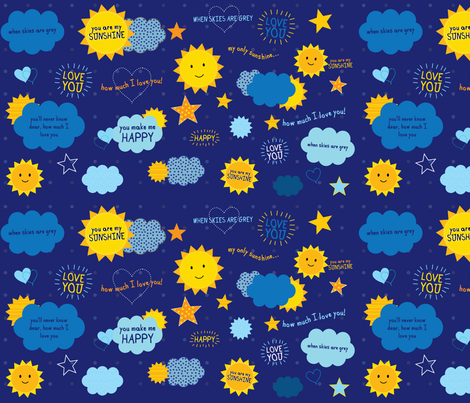 You Are My Sunshine fabric by collide_prints on Spoonflower - custom fabric