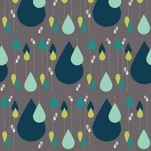 Falling Raindrops on Gray