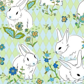 Bunnies on harlequin pattern