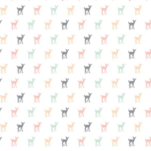Fawn Repeat // Small Scale // Pink,Grey,Mint,Peach