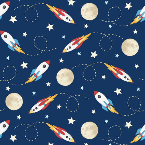 Rockets - smaller scale fabric by hazel_fisher_creations on Spoonflower - custom fabric