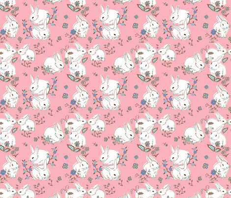 White bunnies with pink fabric by designed_by_debby on Spoonflower - custom fabric