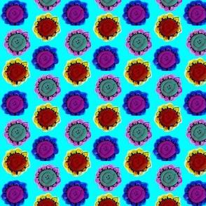 pop art button flowers