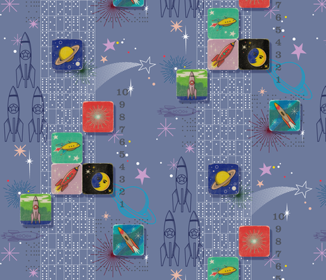 Retro Rockets Away! || domino dominoes outer space galaxy stars starburst shooting star stripes universe explorer kids children baby nursery spaceship planet game fabric by pennycandy on Spoonflower - custom fabric