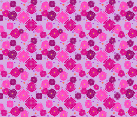 Happy Pink Flowers On Lavender fabric by bags29 on Spoonflower - custom fabric