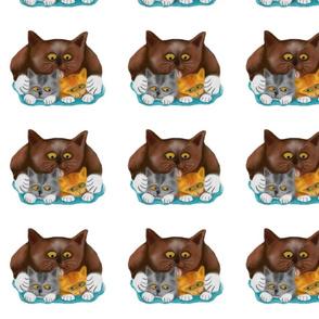Momma_Cat_Baths_her_Two_Kittens_-_Spoonflower