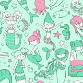 Watergirls (mint/pink) LARGE