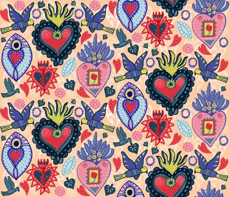 My Sacred Heart fabric by slumbermonkey on Spoonflower - custom fabric