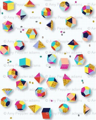 Sparkle Geometry* || geometric polygon 3d dimensional shapes glitter sequins sparkle 80s math science graph paper