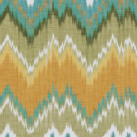 Ikat Chevron in Teal and Sunshine fabric by willowlanetextiles on Spoonflower - custom fabric