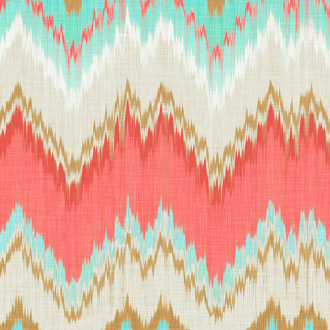 Ikat Chevron in Mint, Gold and Coral Pink fabric by willowlanetextiles on Spoonflower - custom fabric