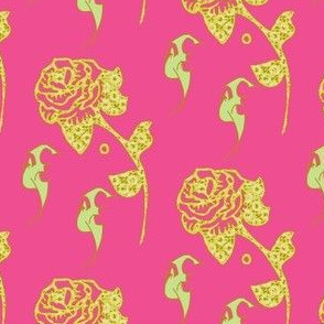 pink and citron, bats and roses