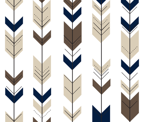 Fletching Arrows // Navy/tan/dark brown fabric by littlearrowdesign on Spoonflower - custom fabric