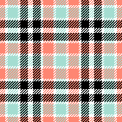 tartan - coral mint black white
