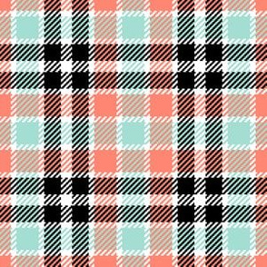 03890144 : tartan : coral mint black white