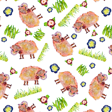 SOFT AS A CLOUD SHEEP Ditsy White Colorful fabric by paysmage on Spoonflower - custom fabric