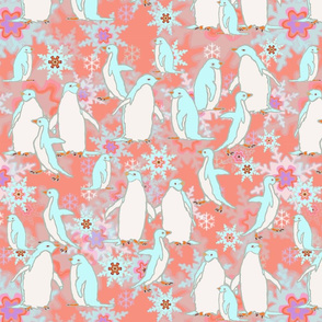 Penguin Play on Rosy Snowflake Background
