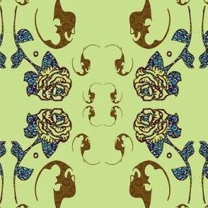 earth tones, blue, bats and roses