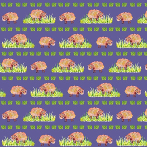 SOFT AS A CLOUD SHEEP Field on Lilac Blue Colorful
