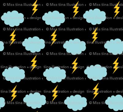sunny stormy clouds lightning bolts on black