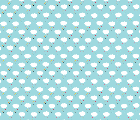 sunny stormy clouds rain drops on black fabric by misstiina on Spoonflower - custom fabric