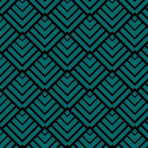 Art Deco Diamonds, Black and Teal