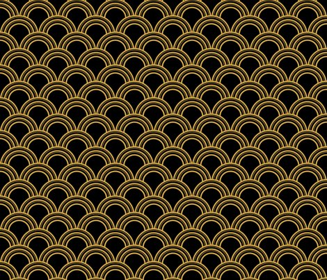 Art Deco Scallop Black And Gold Wallpaper Magentayellow Spoonflower