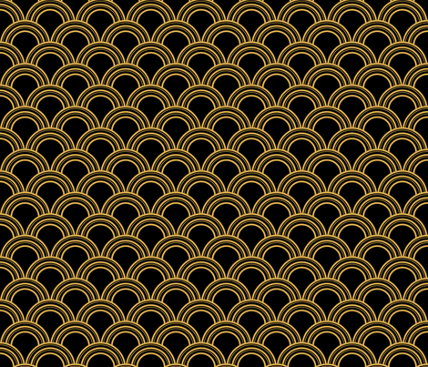 Art Deco Scallop, Black and Gold fabric - magentayellow - Spoonflower