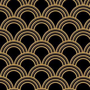Art Deco Scallop, Black and Gold